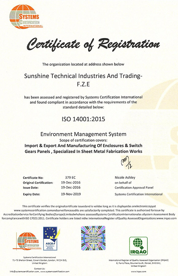 Certificate of Registration - ISO 14001-2015